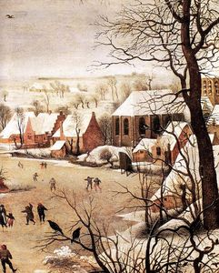 Pieter Bruegel The Elder - Winter Landscape with Skaters and a Bird Trap (detail)