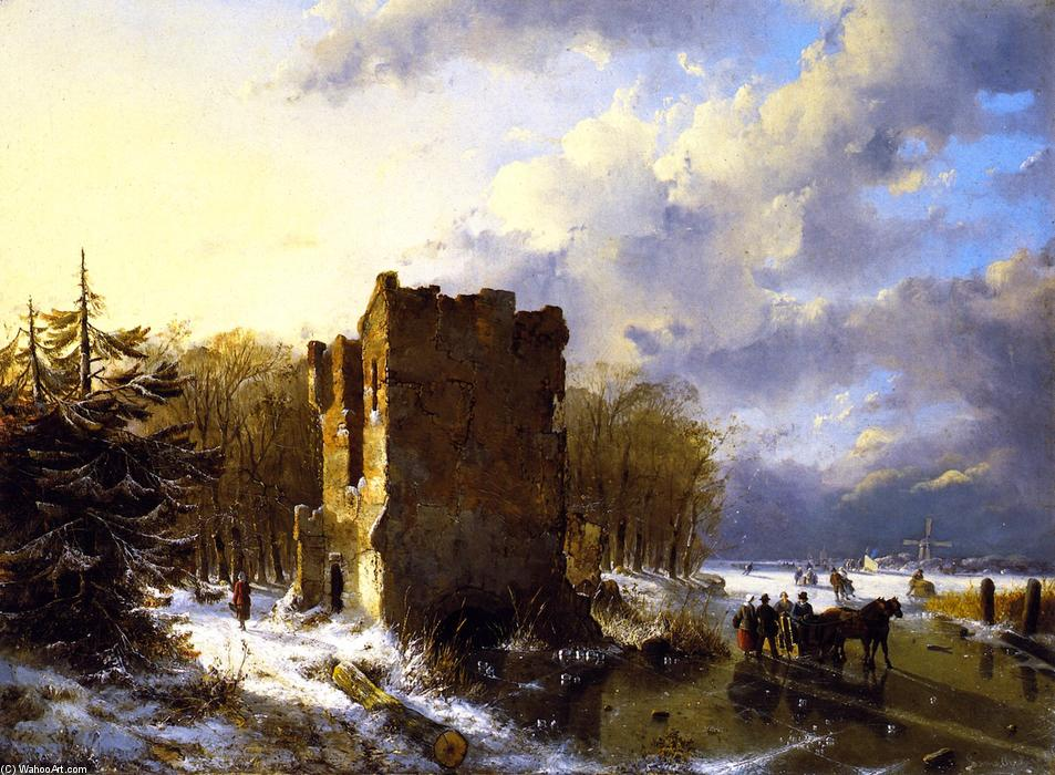 Winter Scene, Holland, Oil On Panel by Louis Remy Mignot (1831-1870, United States)