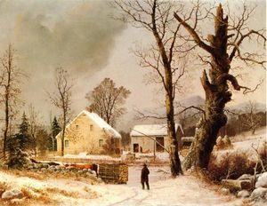 George Henry Durrie - Winter Scene in New England