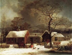 George Henry Durrie - Winter Scene in New Haven, Connecticut