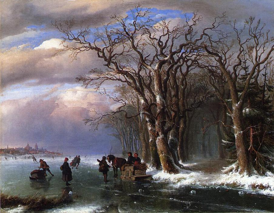 Winter Skating Scene (also known as Winter Scene in Holland), Oil On Canvas by Louis Remy Mignot (1831-1870, United States)