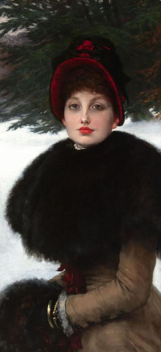 A Winter`s Walk (also known as Kathleen Newton in snow scene), 1878 by James Jacques Joseph Tissot (1836-1902, France) | Famous Paintings Reproductions | WahooArt.com