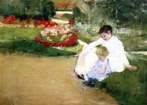 Mary Stevenson Cassatt - Woman and Child Seated in a Garden