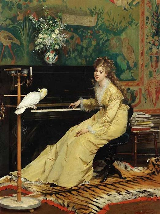 Woman At The Piano With A Cockatoo by Gustave Leonard De Jonghe (1829-1893, Belgium) | Famous Paintings Reproductions | WahooArt.com