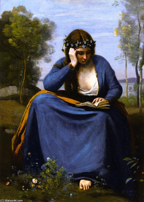 Woman Crowned with Flowers Reading (also known as The Muse of Virgil), Oil On Canvas by Jean Baptiste Camille Corot (1796-1875, France)
