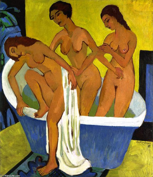 Women Bathing (triptych, central panel), Oil On Canvas by Ernst Ludwig Kirchner (1880-1938, Germany)