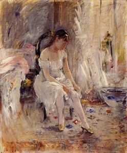 Berthe Morisot - Woman Getting Dressed (also known as Young Woman Fastening Her Stockings)