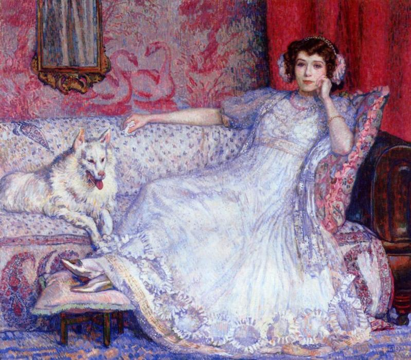 The Woman in White (also known as Portrait of Madame Helene Keller), 1907 by Theo Van Rysselberghe (1862-1926, Belgium) | WahooArt.com
