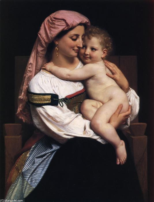 Woman of Cervara and Her Child, Oil On Canvas by William Adolphe Bouguereau (1825-1905, France)
