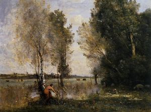 Jean Baptiste Camille Corot - Woman Picking Flowers in a Pasture