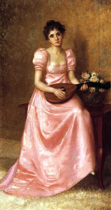 Woman Playing a Mandoliln by De Scott Evans (1847-1898, United States) | Famous Paintings Reproductions | WahooArt.com