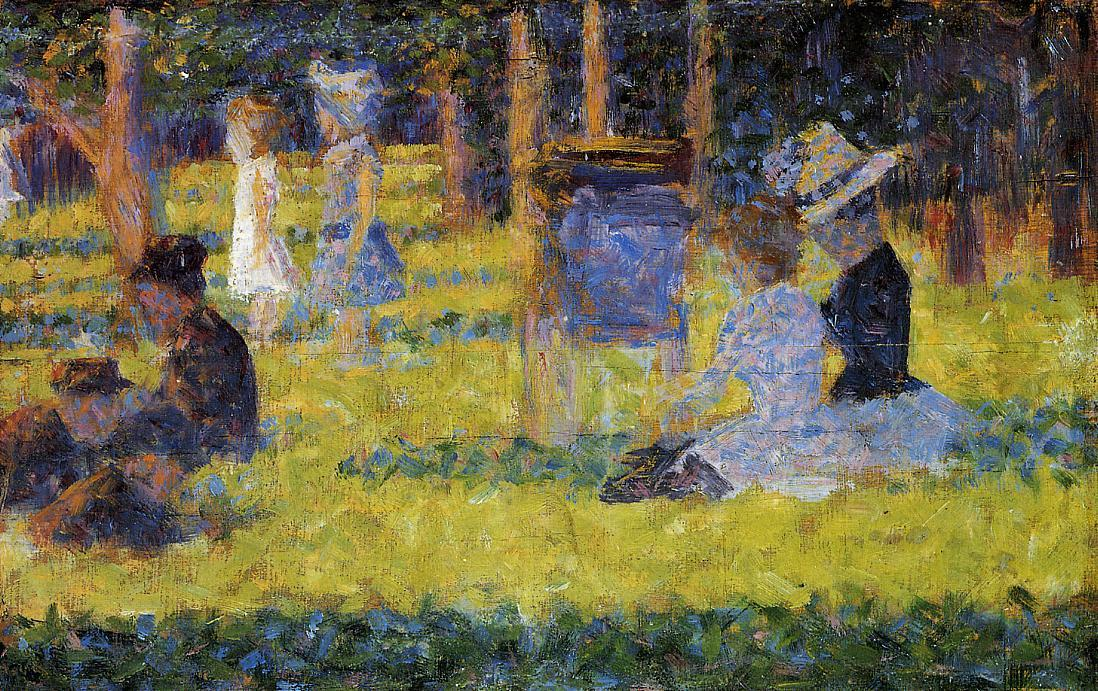 Woman Seated and Baby Carriage, 1884 by Georges Pierre Seurat (1859-1891, France)