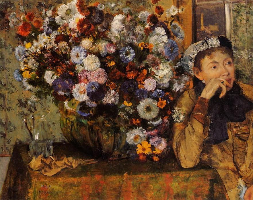 Buy Museum Art Reproductions | A Woman Seated beside a Vase of Flowers (also known as sardela), 1865 by Edgar Degas (1834-1917, France) | WahooArt.com