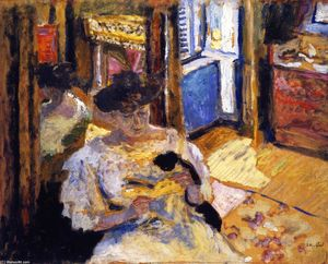 Jean Edouard Vuillard - Woman Seated on a Sofa (also known as The Dressing-Room, Madame Hessel Reading at Amfréville)