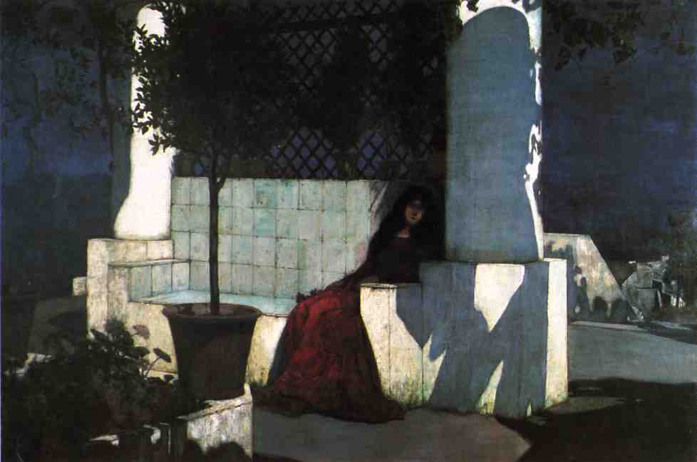 Woman Sitting in the Moonlight, Oil On Canvas by Charles Caryl Coleman (1840-1928, United States)