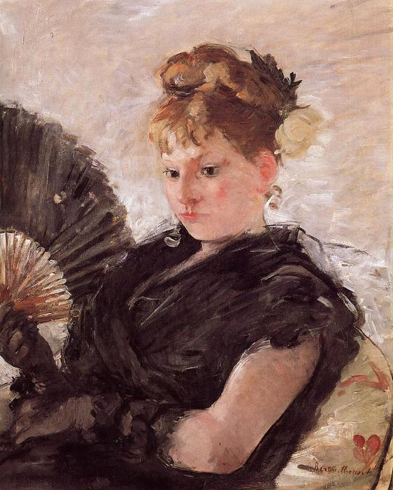 Woman with a Fan (also known as Head of a Girl), 1876 by Berthe Morisot (1841-1895, France) | Museum Quality Reproductions | WahooArt.com