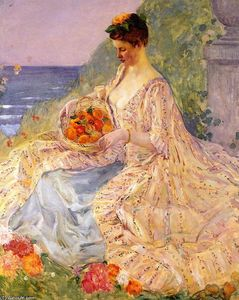 Frederick Carl Frieseke - Woman with a Flower Basket