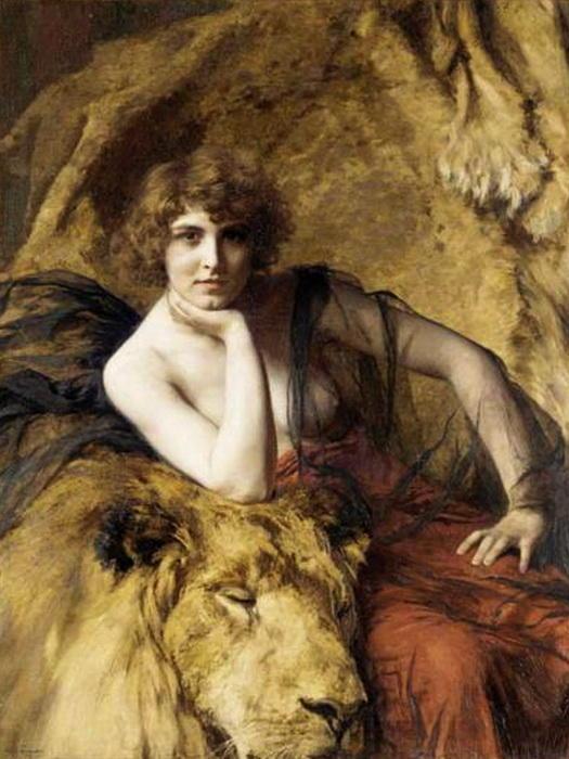 Woman with a lion, Oil On Canvas by Émile Friant (1863-1932, France)