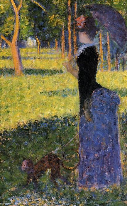 Woman with a Monkey, Oil by Georges Pierre Seurat (1859-1891, France)
