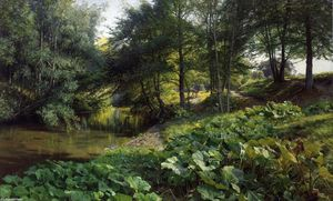 Peder Mork Monsted - A Wooded River Landscape with Deer beyond