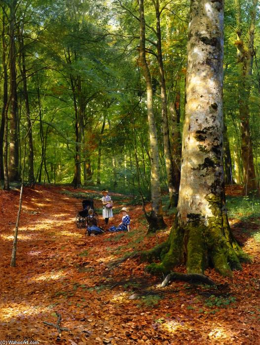 The Woodland Glade, 1883 by Peder Mork Monsted (1859-1941, Denmark) | Oil Painting | WahooArt.com