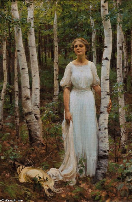 Buy Museum Art Reproductions | Woodland Solitude, 1913 by Charles Courtney Curran (1861-1942, United States) | WahooArt.com