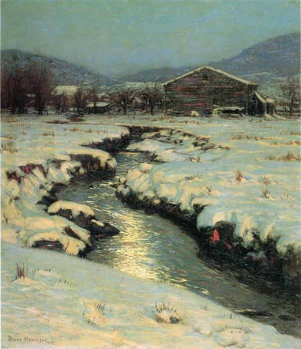 Woodstock Meadows in Winter, Oil On Canvas by Lowell Birge Harrison (1854-1929, United States)
