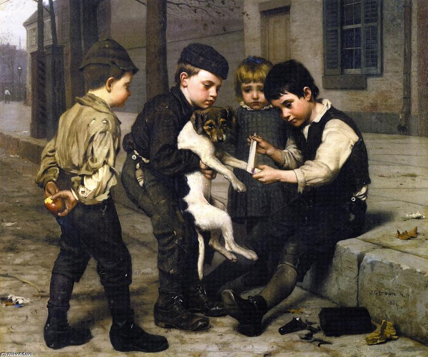 The Wounded Playfellow, 1884 by John George Brown (1831-1913, United Kingdom) | WahooArt.com