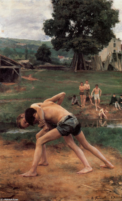 Wrestling, 1889 by Émile Friant (1863-1932, France) | Art Reproduction | WahooArt.com