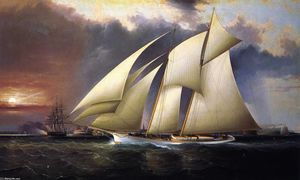 James Edward Buttersworth - The Yacht Magic-- Defending America-s Cup--