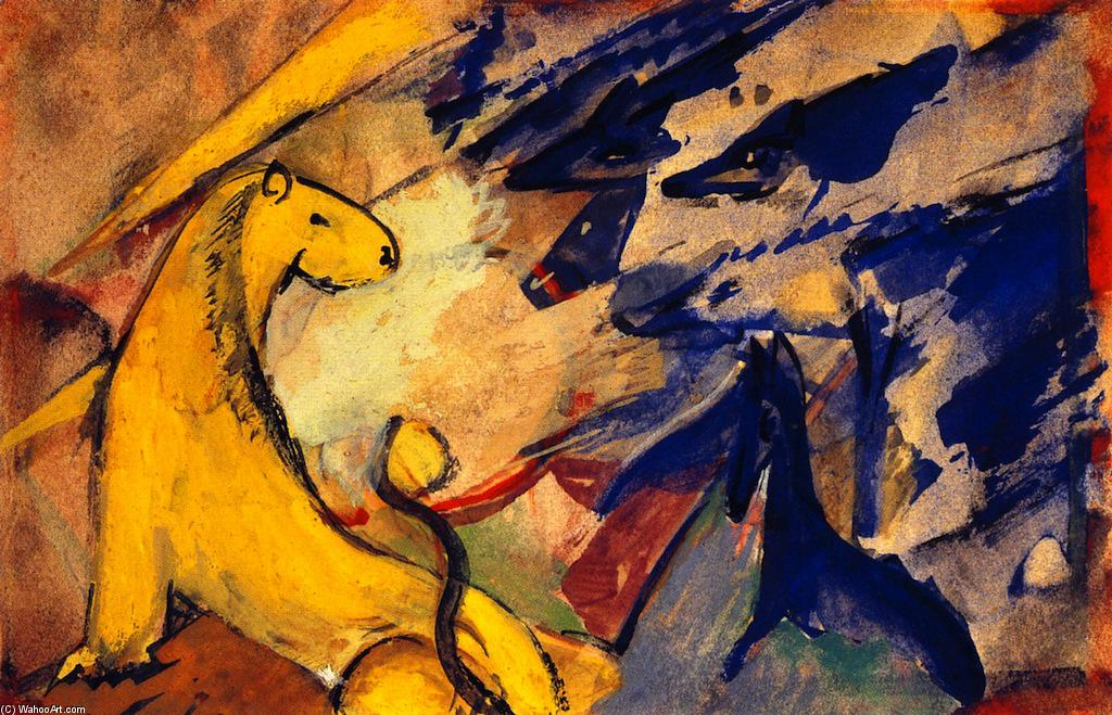 Yellow Lion, Blue Foxes, Blue Horse, Frescoes by Franz Marc (1880-1916, Germany)