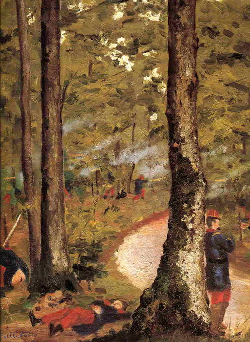 Yerres, Soldiers in the Woods, 1871 by Gustave Caillebotte (1848-1894, France) | WahooArt.com