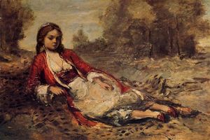 Jean Baptiste Camille Corot - Young Algerian Woman Lying on the Grass