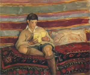 Henri Lebasque - Young boy reading