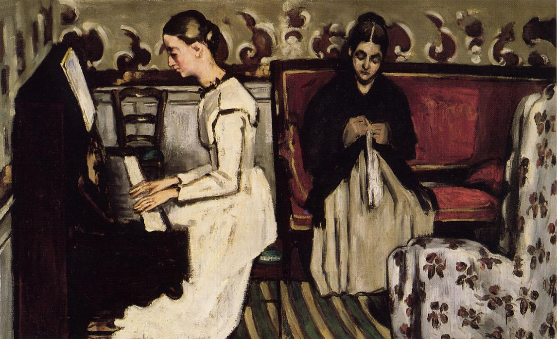 Young Girl at the Piano - Overture to Tannhauser, 1869 by Paul Cezanne (1839-1906, France) | Art Reproduction | WahooArt.com