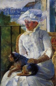 Mary Stevenson Cassatt - Young Girl at a Window (also known as Susan on a Balcony Holding a Dog)