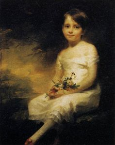 Henry Raeburn - Young Girl Holding Flowers