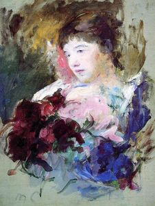 Mary Stevenson Cassatt - Young Girl Holding a Loose Bouquet