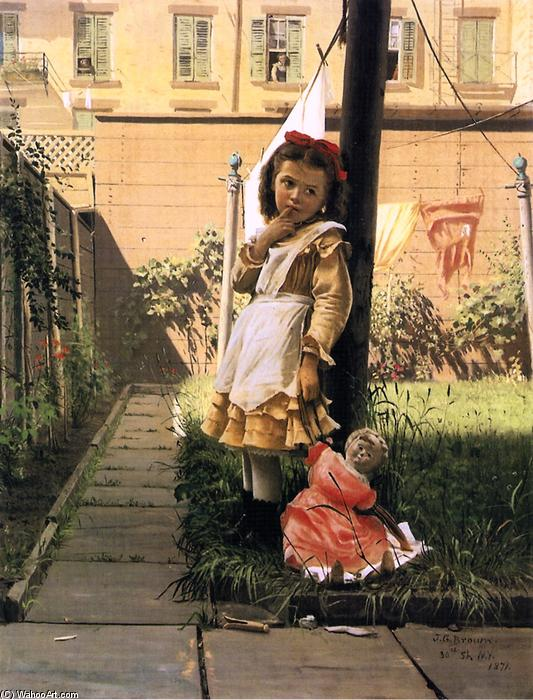 Young Girl in a New York Garden, 1871 by John George Brown (1831-1913, United Kingdom) | WahooArt.com
