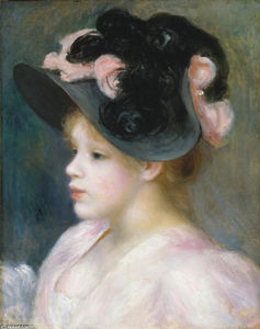 Pierre-Auguste Renoir - Young Girl in a Pink-and-Black Hat