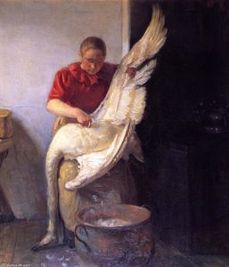 Anna Ancher - Young Girl Plucking a Swan