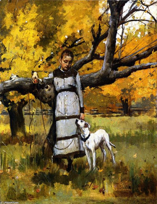 Young Girl with Dog, 1886 by Theodore Robinson (1852-1896, United States) | Art Reproduction | WahooArt.com