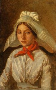 Jean Baptiste Camille Corot - Young Girl with a Large Cap on Her Head
