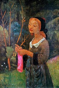 Paul Serusier - Young Girl with a Pink Stocking (also known as Young Breton Knitting)