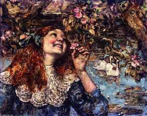Edward Atkinson Hornel - A Young Girl with Swans