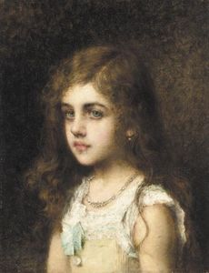 Alexei Alexeievich Harlamoff - Young Girl With A Turquoise Bow