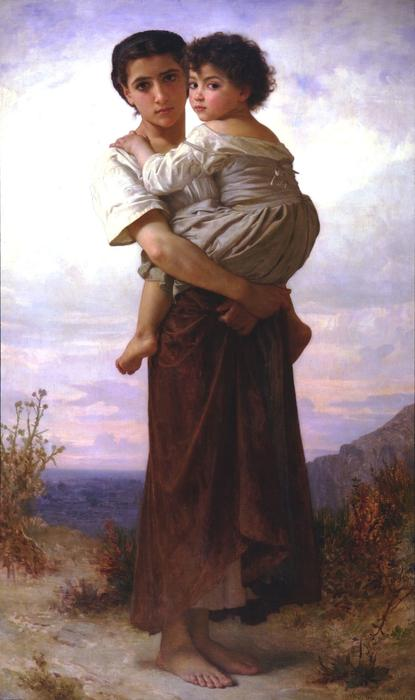 Young Gypsies, 1879 by William Adolphe Bouguereau (1825-1905, France) | Oil Painting | WahooArt.com
