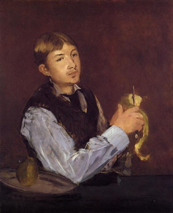 Young Man Peeling a Pear (also known as Portrait of Leon Leenhoff), 1869 by Edouard Manet (1832-1883, France) | Painting Copy | WahooArt.com