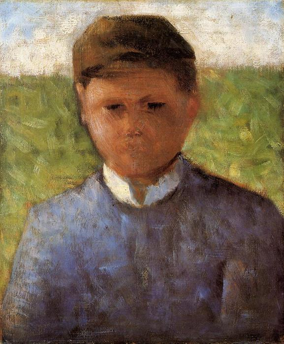 Order Art Reproductions | Young Peasant in Blue, 1881 by Georges Pierre Seurat (1859-1891, France) | WahooArt.com