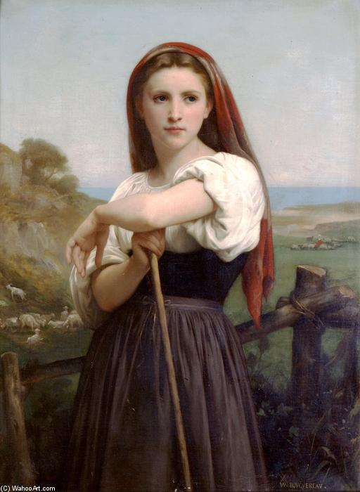 Young Shepherdess, 1868 by William Adolphe Bouguereau (1825-1905, France) | Famous Paintings Reproductions | WahooArt.com